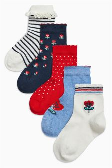 Ditsy Socks Five Pack (Younger Girls)