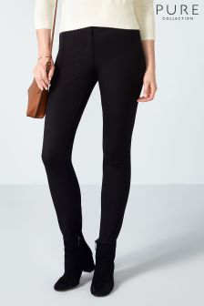 Pure Collection Black Cotton Stretch Stirrup Trouser