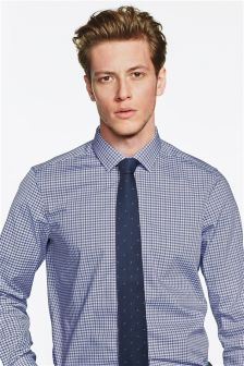 Gingham Slim Fit Shirt And Tie Set