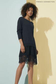 French Connection Dark Grey Melba Knits Jumper Dress