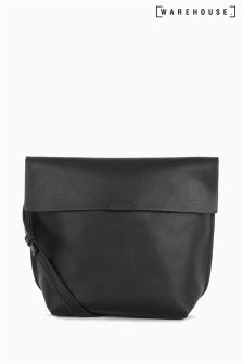 Warehouse Black Bonded Crossbody Bag