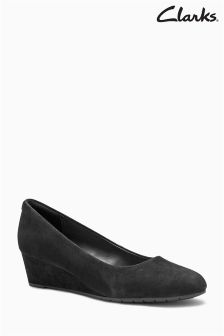 Clarks Black Suede Vendra Bloom Wedge Shoe