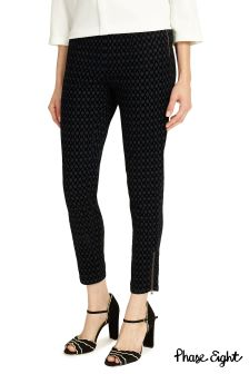 Phase Eight Black Lara Oval Flock Jegging