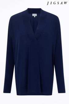 Jigsaw Blue Stitch Placket Jumper