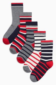 Stripe Five Pack Socks (Older Boys)