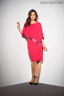 Gina Bacconi Red Victoria Sequin Trim Cape Dress