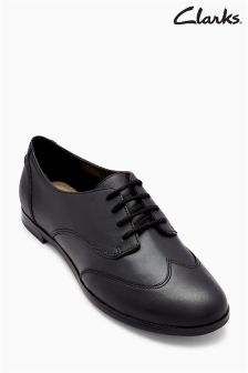 Clarks Black Leather Andora Trick Wingcap Oxford Shoe