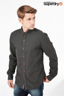 Superdry Charcoal Wash Long Sleeve Oxford Shirt