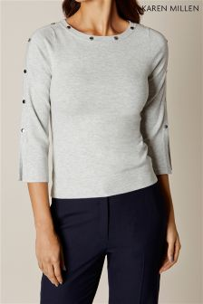 Karen Millen Grey Button Knitted Jumper