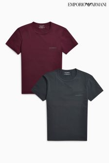 Emporio Armani Burgundy/Grey T-Shirt Two Pack