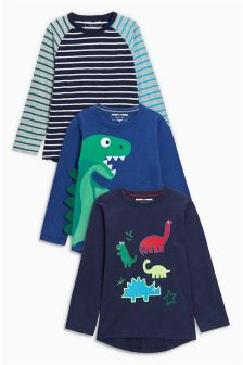 Bright Dino Long Sleeve T-Shirts Three Pack (3mths-6yrs)
