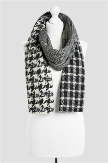 Herringbone Check Splice Scarf