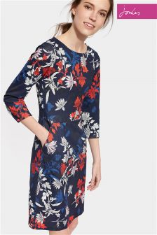 Joules Navy Floral Printed Ponte Beth Dress