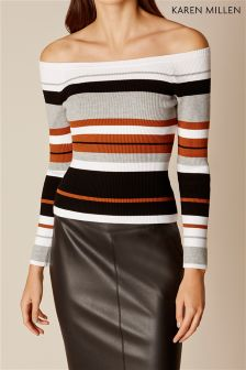 Karen Millen Striped Off The Shoulder Top