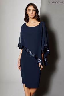 Gina Bacconi Navy Crepe And Chiffon Dress With Sequin Trim