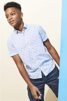 Short Sleeve Printed Ticking Stripe Shirt (3-16yrs)