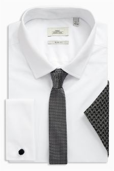 Double Cuff Shirt With Grey Tie And Pocket Square Set