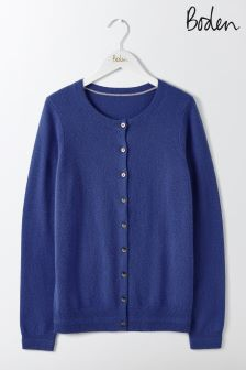 Boden Greek Blue Cashmere Crew Cardigan