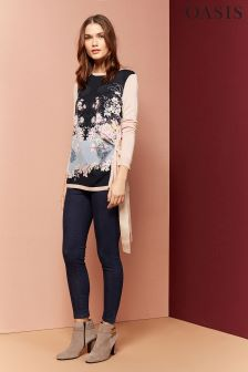 Oasis Multi Lotus Print Side Tie Knit