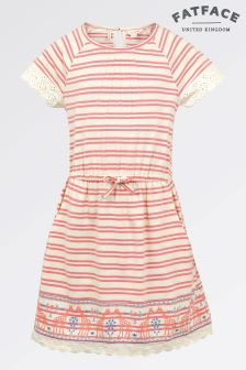 Fat Face Coral Flair Maisy Stripe Dress