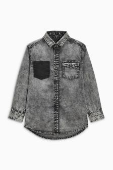 Long Sleeve Distressed Denim Shirt (3-16yrs)