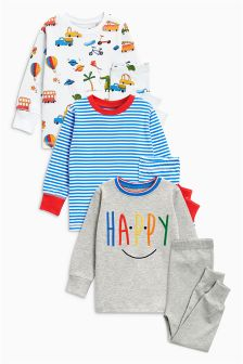 Stripe/Slogan Snuggle Fit Pyjamas Three Pack (9mths-8yrs)