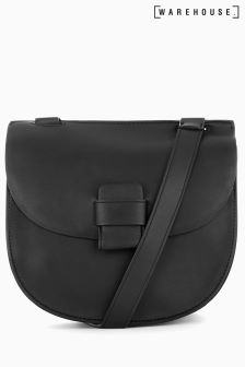 Warehouse Black Stitch Tab Saddle Bag
