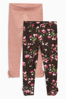 Floral Frill Side Leggings Two Pack (3-16yrs)