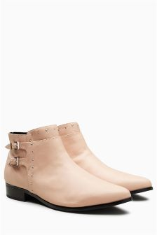 Leather Double Buckle Detail Boots