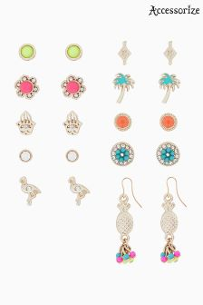 Accessorize Pink Belize Stud Earrings Twenty Pack
