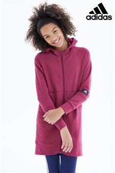 adidas Burgundy ID Long Full Zip Hoody