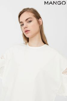 Mango White Lace Sleeve Detail Blouse