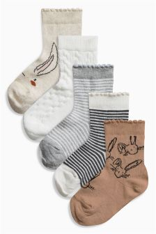 Bunny Socks Five Pack (Younger Girls)