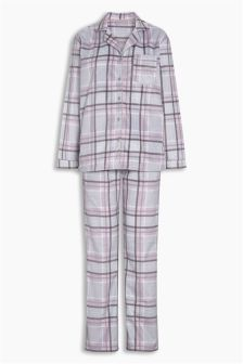 Check Cosy Button Through Pyjamas
