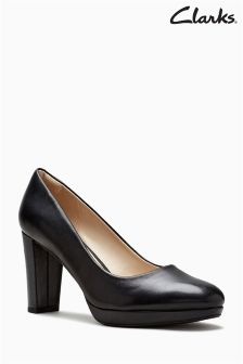 Clarks Black Leather Kendra Sienna Court Shoe