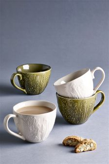Set Of 4 Floral Embossed Mugs