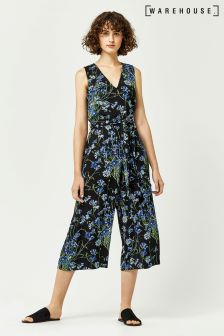 Warehouse Black Blue Full Bloom Jumpsuit