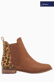 Joules Leopard Leather Chelsea Boot