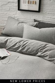 Grey Marl Jersey Bed Set