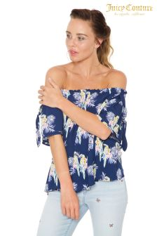 Juicy Couture Blue Parrot Print Top