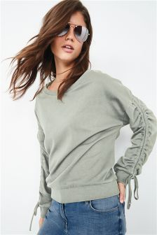Ruched Sleeve Sweater