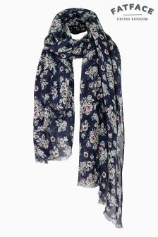 Fat Face Blue Hetty Floral Scarf