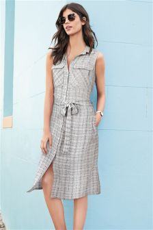 Sleeveless Textured Stripe Shirt Dress