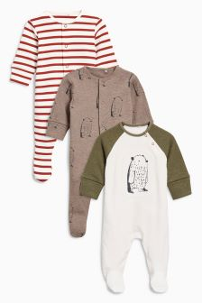 Bears Sleepsuit Three Pack (0mths-2yrs)