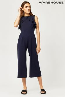 Warehouse Navy Crepe Back Frill Jumper