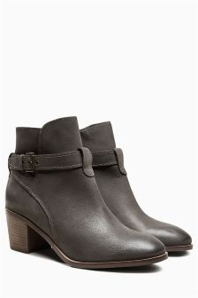 Leather Casual Strap Heel Boots