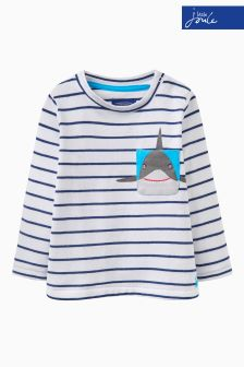 Joules Navy Stripe Novelty Pocket Tee
