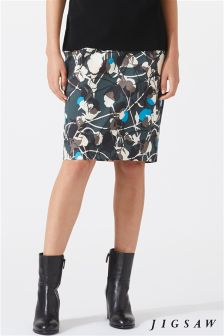 Jigsaw Green Floral Thistle Pencil Skirt