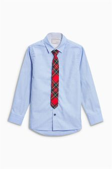 Shirt With Tartan Tie (3-16yrs)