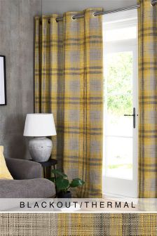 Astley Check Eyelet Blackout Curtains